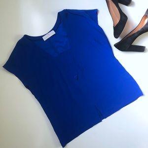 Amanda Uprichard Blue Silk Short Sleeve Top